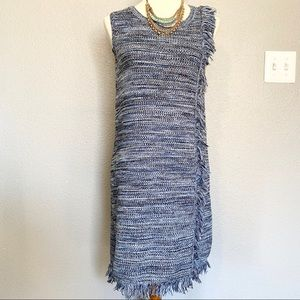 Holding Horses tweed sleeveless dress with fringe